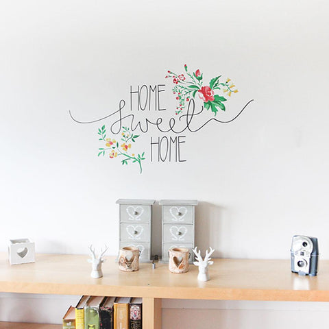 Floral home sweet home wall sticker for your hallway