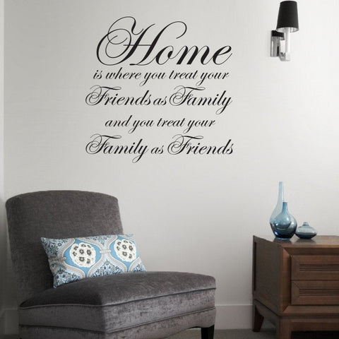 Home is where typographic word wall sticker design for family homes