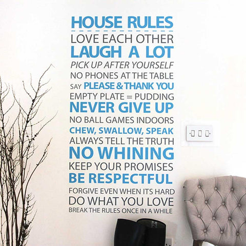 House Rules vinyl wall sticker for family home decoration ideas