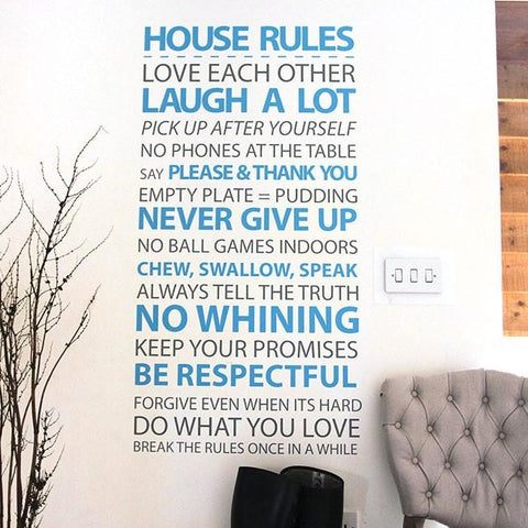 Family rules wall sticker for home decoration. Choice any two colours