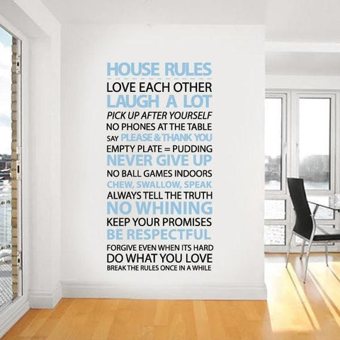 Customisable wall sticker decal of 'house rules' by www.vinylimpression.co.uk