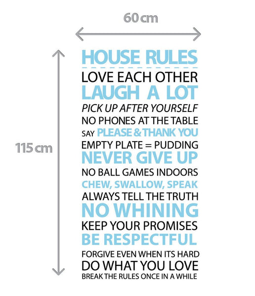 Customised House Rules Wall Sticker in Home by Vinyl Impression