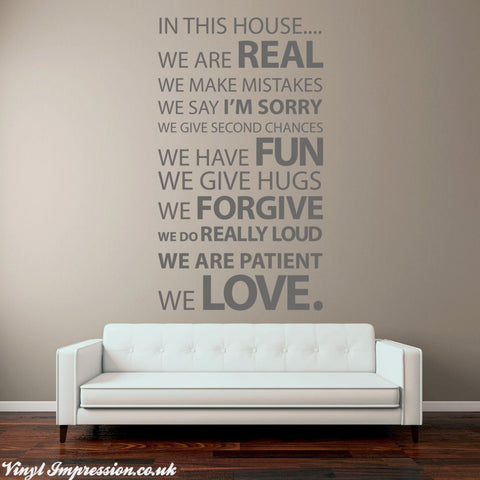 Removable Wall Sticker - In this House- By Vinyl Impression