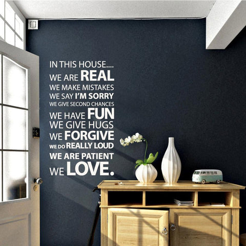 In this House Vinyl Wall Sticker - Typographic wall art applique for homes
