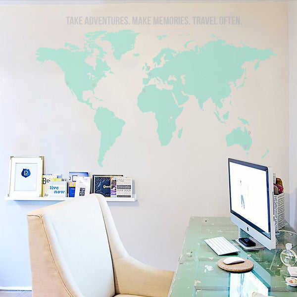 World Map with Quote Vinyl Wall Decal in Popular by Vinyl Impression