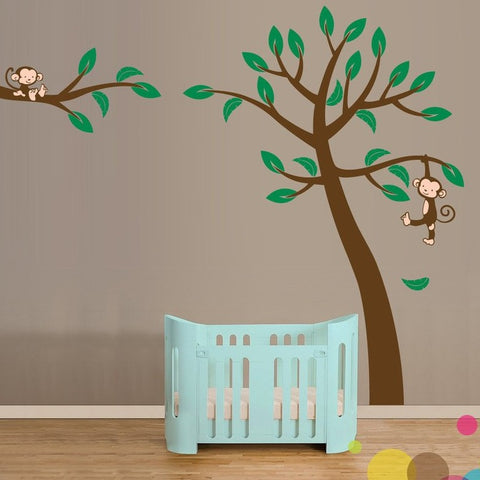 Kids Wall Sticker - Jungle Tree with Monkey - By Vinyl Impression