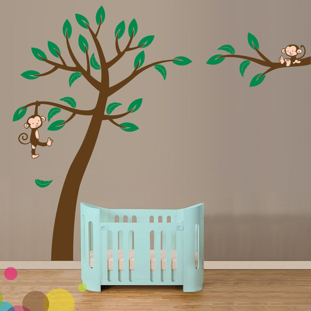 jungle tree with monkeys vinyl wall sticker life size vinyl impression. Black Bedroom Furniture Sets. Home Design Ideas