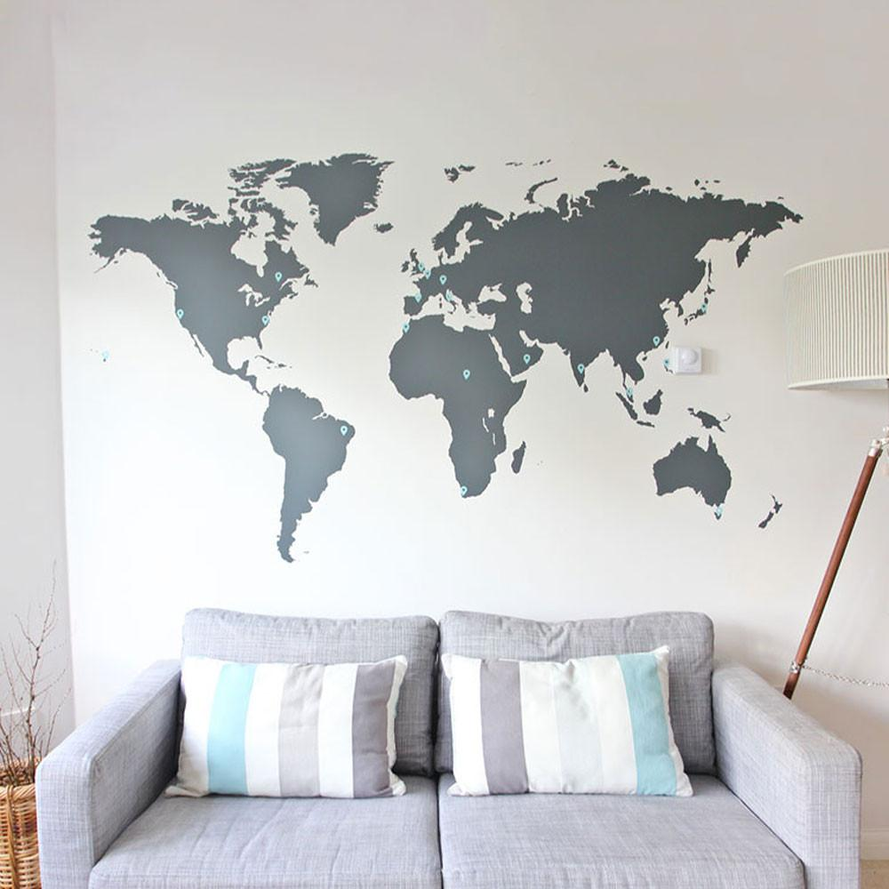 world map wall sticker vinyl impression. Black Bedroom Furniture Sets. Home Design Ideas
