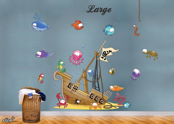 Sunken Pirate ship Wall Sticker in  by Vinyl Impression