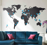 Extra Pins for World Map in Office by Vinyl Impression