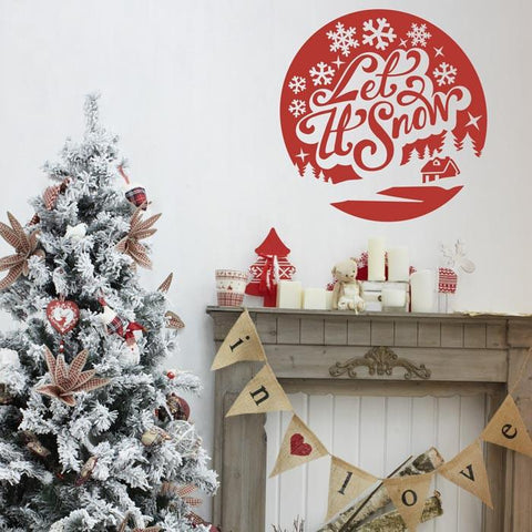 Let it snow typographic christmas decoration wall vinyl sticker