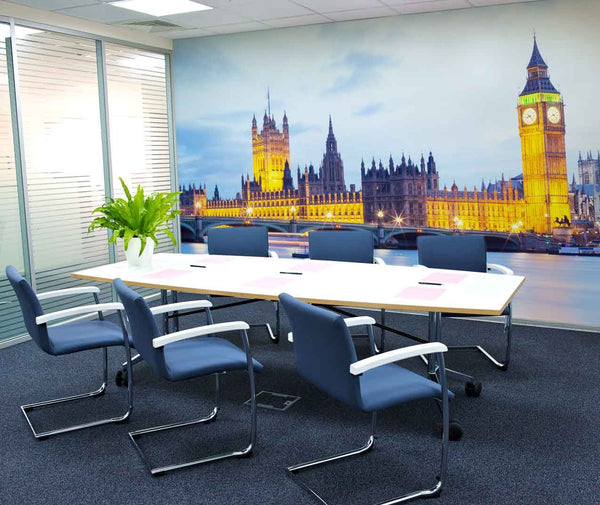 London at Night Wall Mural in Office by Vinyl Impression
