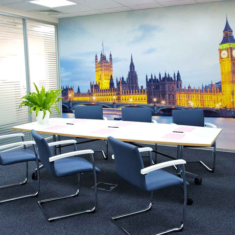 London at night mural office mock up