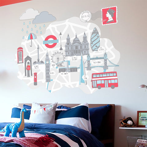 London wall sticker scene for kids