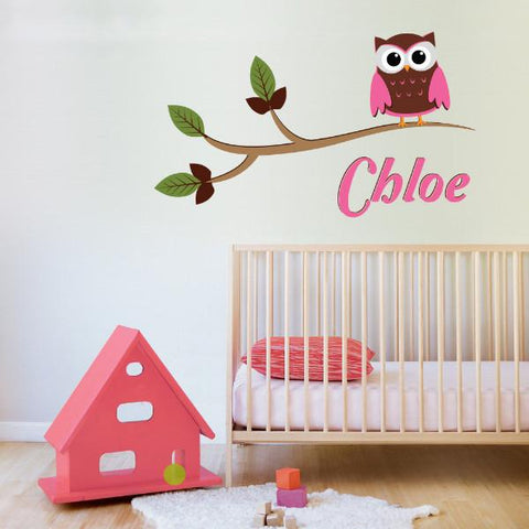 Owl on a branch vinyl wall sticker decal with girls name in pinks
