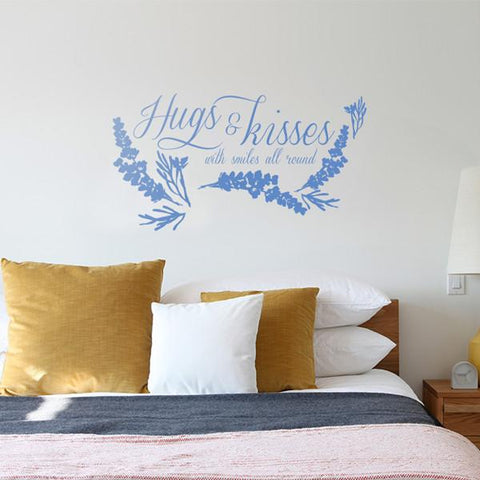 Hugs and Kisses product mockup above a bed square crop