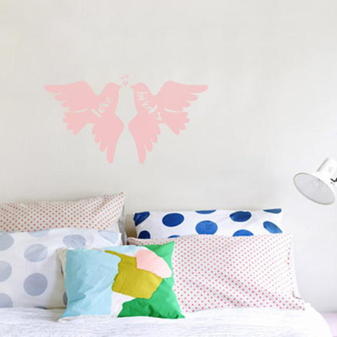 love birds mock up a above double bed