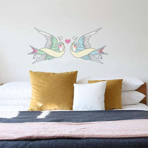 Swallows in love sticker mockup above bed