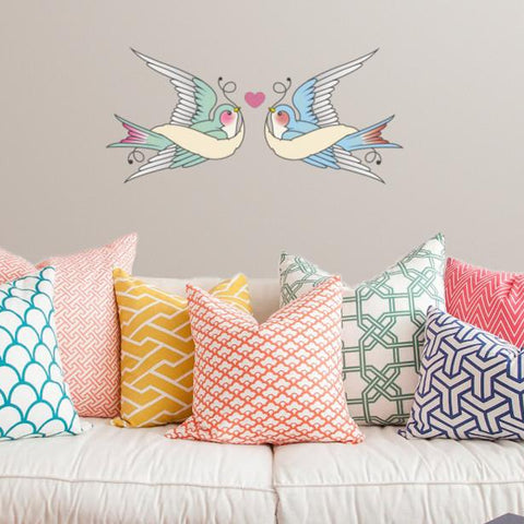 Swallows in love sticker mockup above sofa
