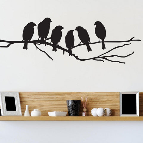 Love birds on a branch in silhouette wall art sticker decal pack for home design