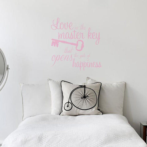 love key mock up above double bed