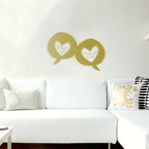 Love speech bubbles sticker mock up above sofa