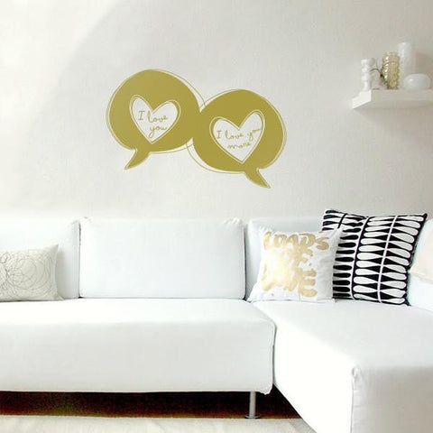 Love speech bubbles sticker mock up above sofa - square crop