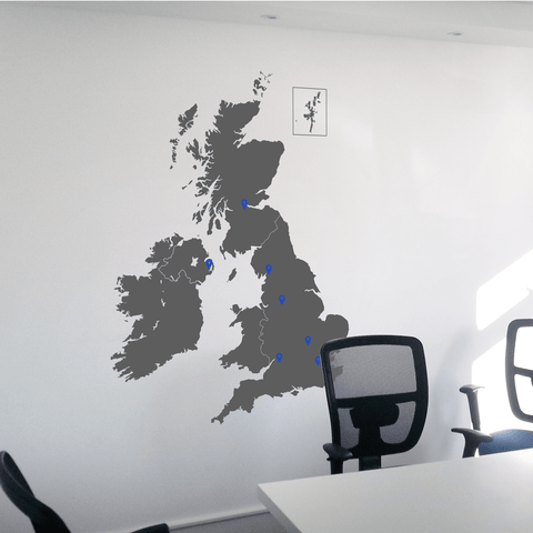 UK Map wall sticker, detailed vinyl decal for your office