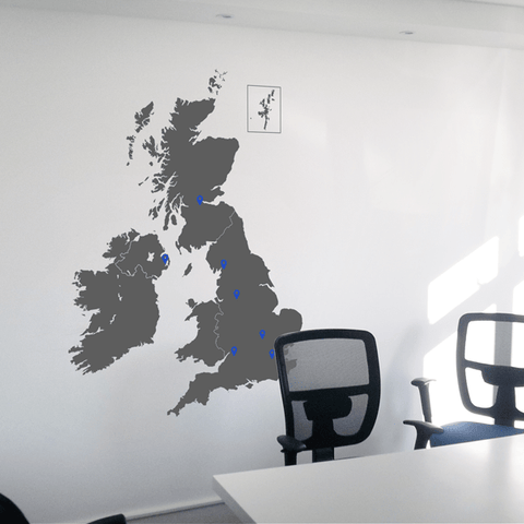 Dark UK Vinyl Map on the wall, this sticker comes in multiple sizes.