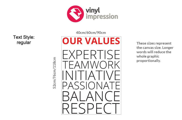 Company Values -Style 2 in  by Vinyl Impression