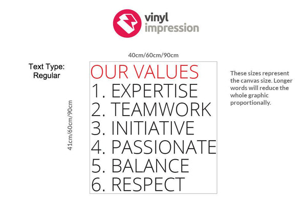 Company Values -Style 3 in  by Vinyl Impression
