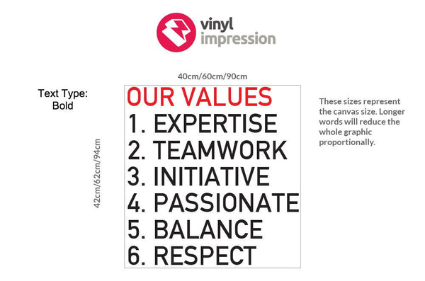 Company Values -Style 3 in Breakout by Vinyl Impression