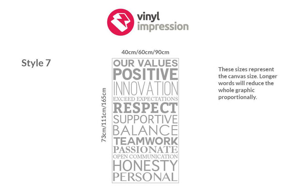 Company Values -Style 4 in Meeting Room by Vinyl Impression