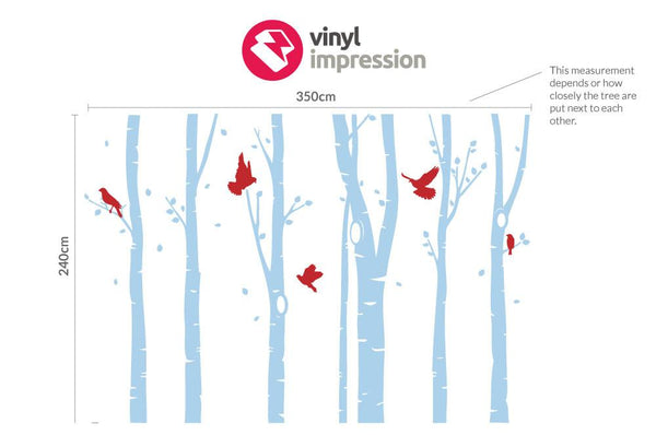 Birch Tree Forest Office Wall Sticker in Meeting Room by Vinyl Impression