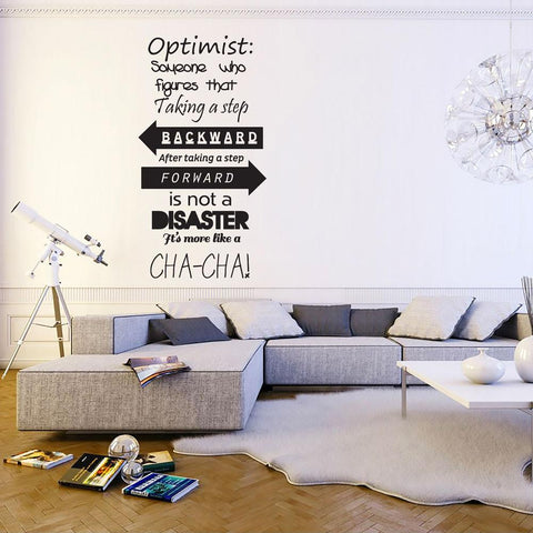 Vinyl wall sticker quote about optimism motivational text. Wall art text for homes and offices, Wall art sticker UK