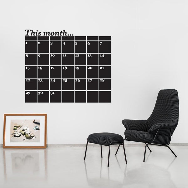 Monthly Planner Chalkboard Wall Sticker in Home by Vinyl Impression