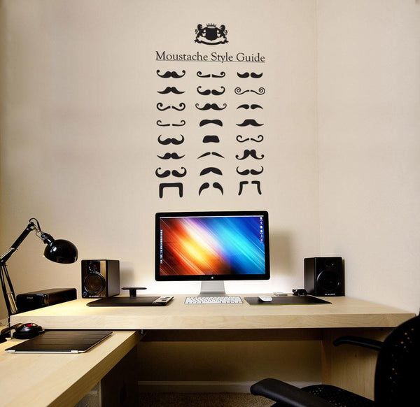 Moustache style guide wall sticker in  by Vinyl Impression