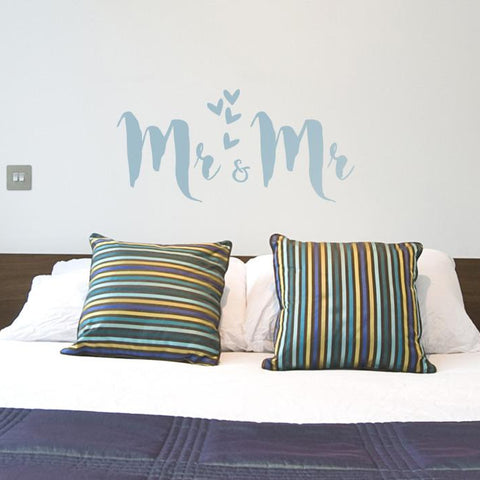 Mr and Mrs sticker mockup above bed