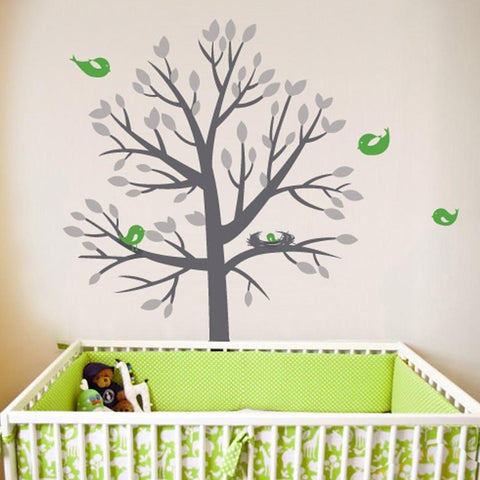 Nesting tree vinyl wall sticker decal graphic for kids and children's rooms.