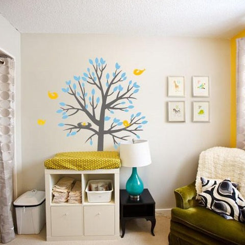 Nesting tree wall sticker wall art decal graphic for baby nurseries and kids rooms