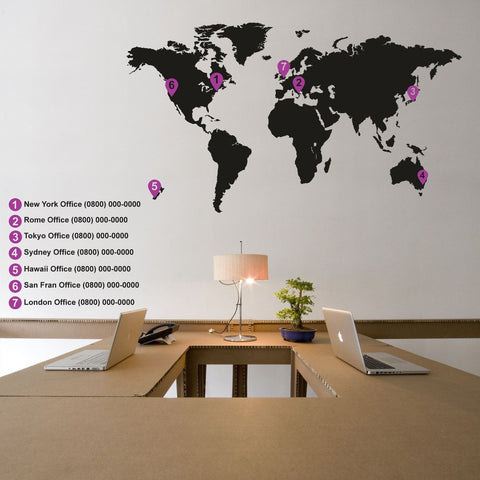 Office Decal -World Map  - Removable wall sticker - By Vinyl Impression