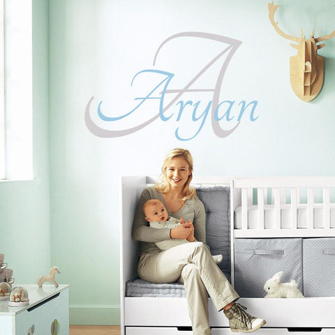 Baby name personalised wall sticker graphic for babies nurseries