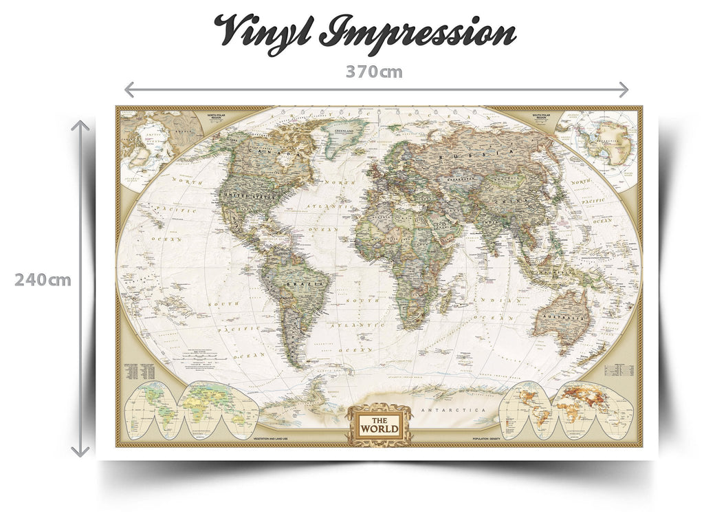 World map wall paper mural, self adhesive old style world map. Globe ...