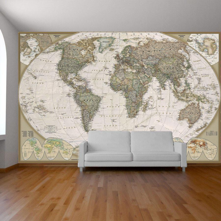 World Map Wall Paper Mural Self Adhesive Old Style World