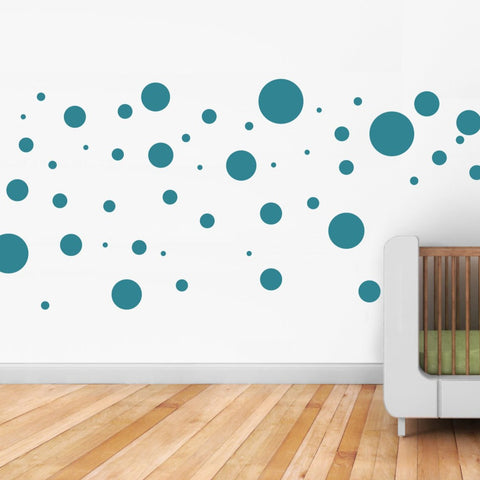 colourful polka dot wall sticker UK. Removable vinyl mini wall art decals