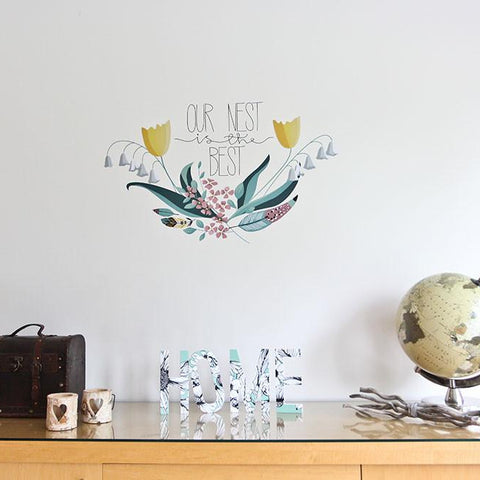 vinyl printed saying Our Nest is the Best wall decal graphic for the home