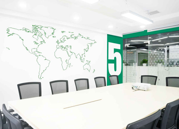 Outlined world map wall sticker in Office by Vinyl Impression