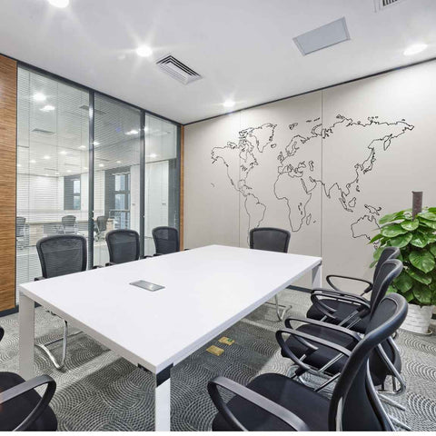 office world map. Outlined World Map Wall Sticker Office