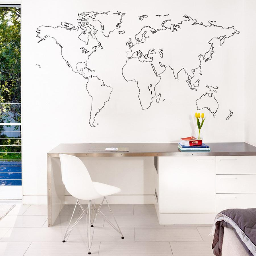 outlined world map wall sticker vinyl impression. Black Bedroom Furniture Sets. Home Design Ideas