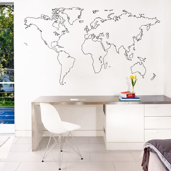 Outlined world map wall sticker in  by Vinyl Impression
